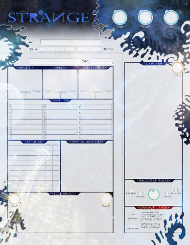 The Strange Character Sheets -  Monte Cook Games