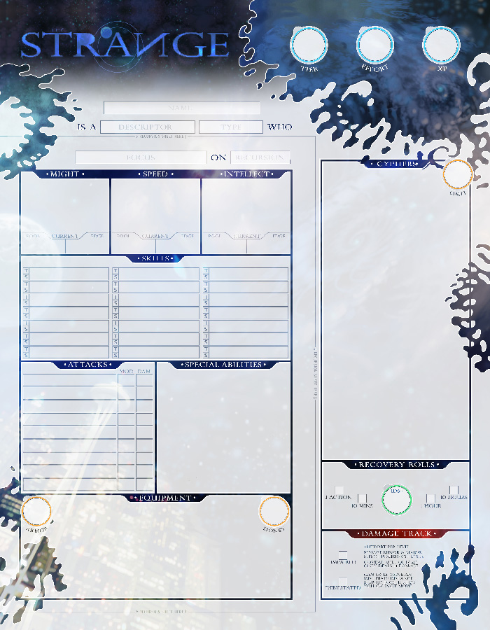 Alive Character Design Pdf Download : The strange character sheets monte cook games store