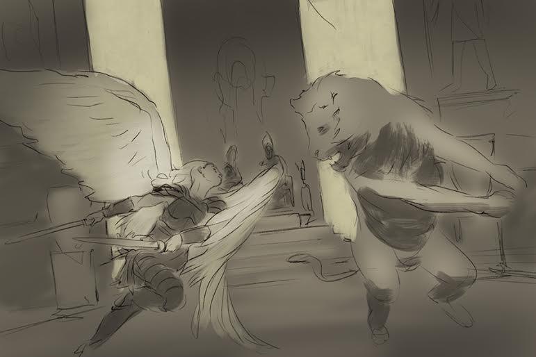 Sketch (no final) by artist Keiran Yanner