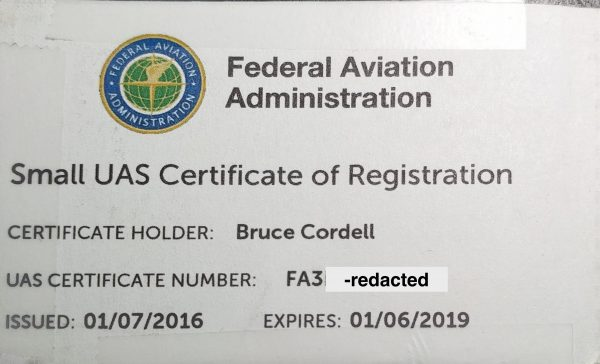 redacted scan of Bruce Cordell's FAA drone license