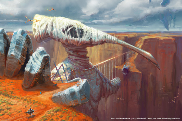 Image of Art by Bruce Brenneise: Numenera Landscape featuring canyon with ancient runes and creature.