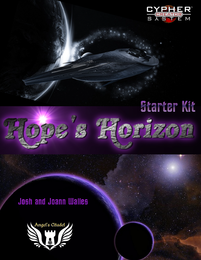 """Image of Hope's Horizon Starter Kit art and text reading """"Hope's Horizon Starter Kit. Image features a Starship in space with planets and stars."""