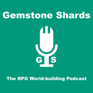 Image of a microphone with the Gemstone Shards logo. Text reads Gemstone Shards  The RPG World-building Podcast.