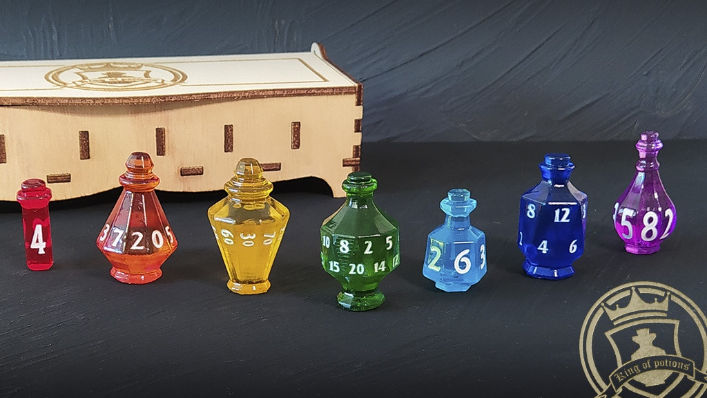 Image: Potion-bottle shaped dice in various colors from Eternalverse.