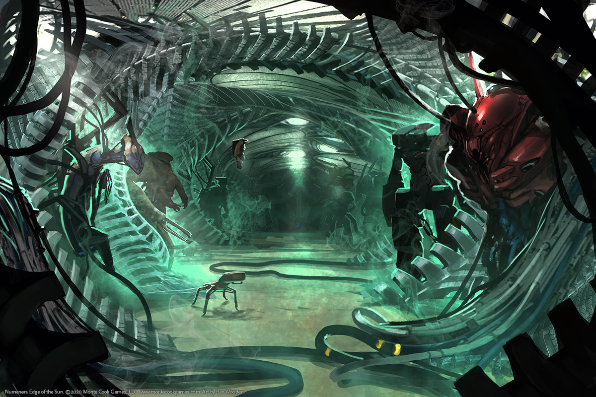 A strange green corridor of almost biological-looking rib-like structures is lined by foreboding creatures.