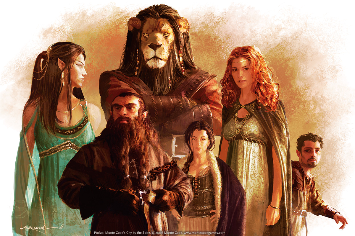 An image representing some species of Ptolus: an elf woman, a dwarf man, a litorian man, two human women, and a halfling man.