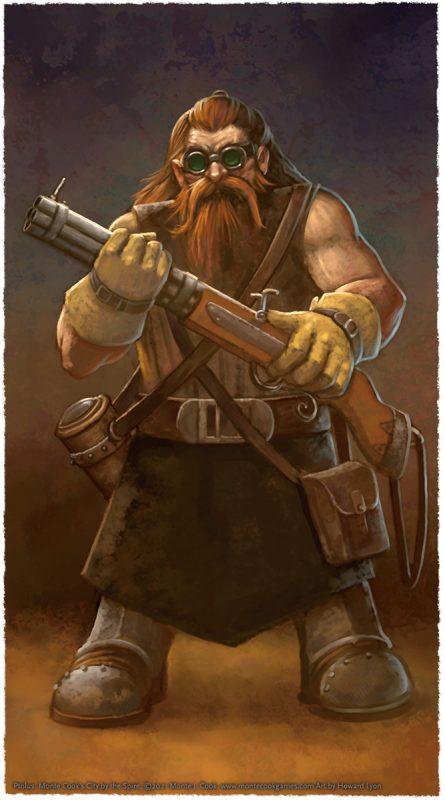 A dwarf carrying a firearm.