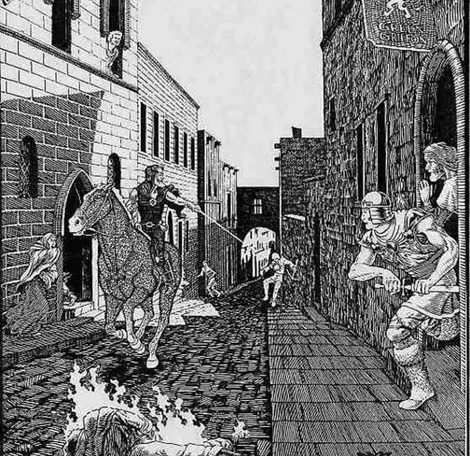 Illustration of a wizard galloping up a medieval street, shooting a foe with a magic attack. By David Trampier, from the first edition of Advanced Dungeons and Dragons.