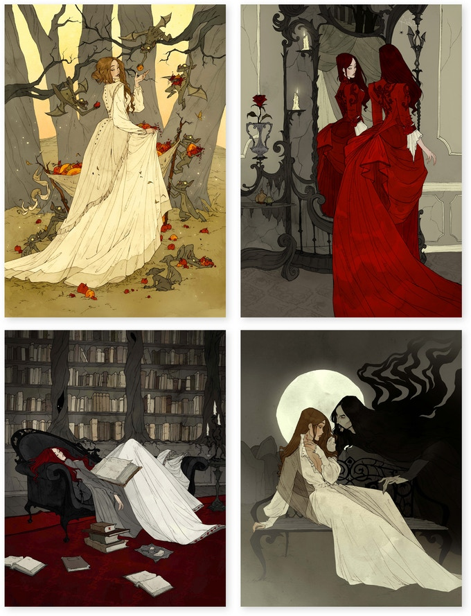 Four illustrations by Abigail Larson, including a woman walking through the woods, a woman looking in the mirror, a woman asleep on a library sofa with a large book in her lap, and a woman on a bench under the full moon, being approached by a dark figure.