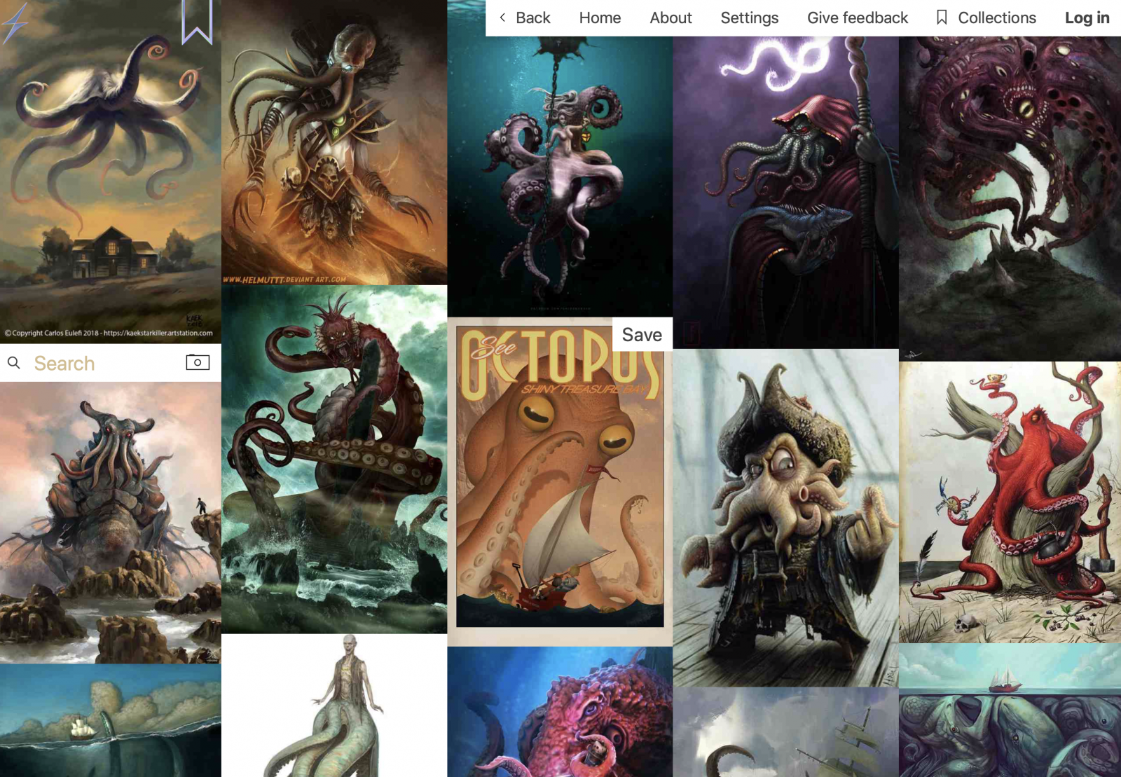 Screenshot of website showing many Cthulhu-related images
