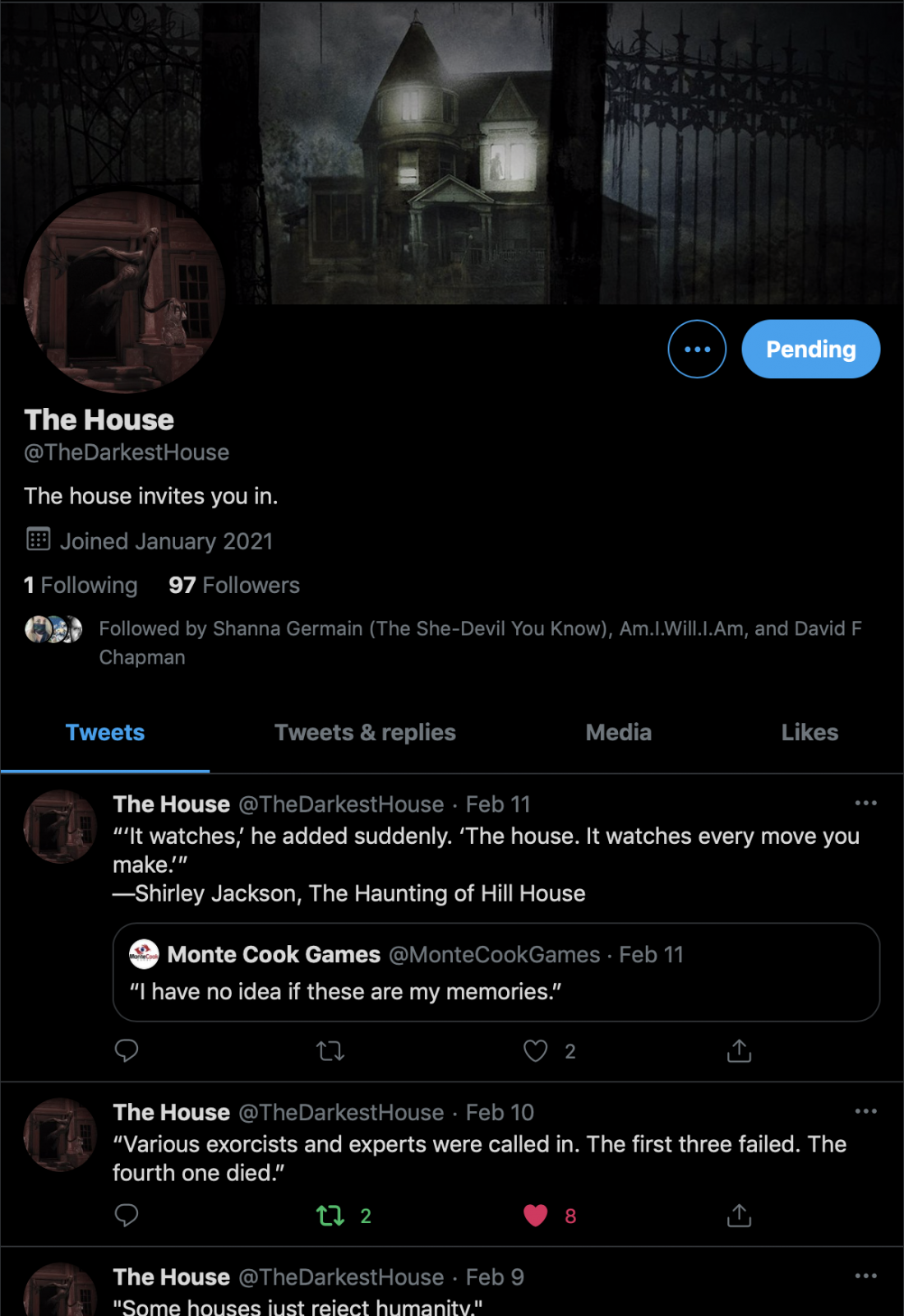 A screenshot of The Darkest House Twitter page.