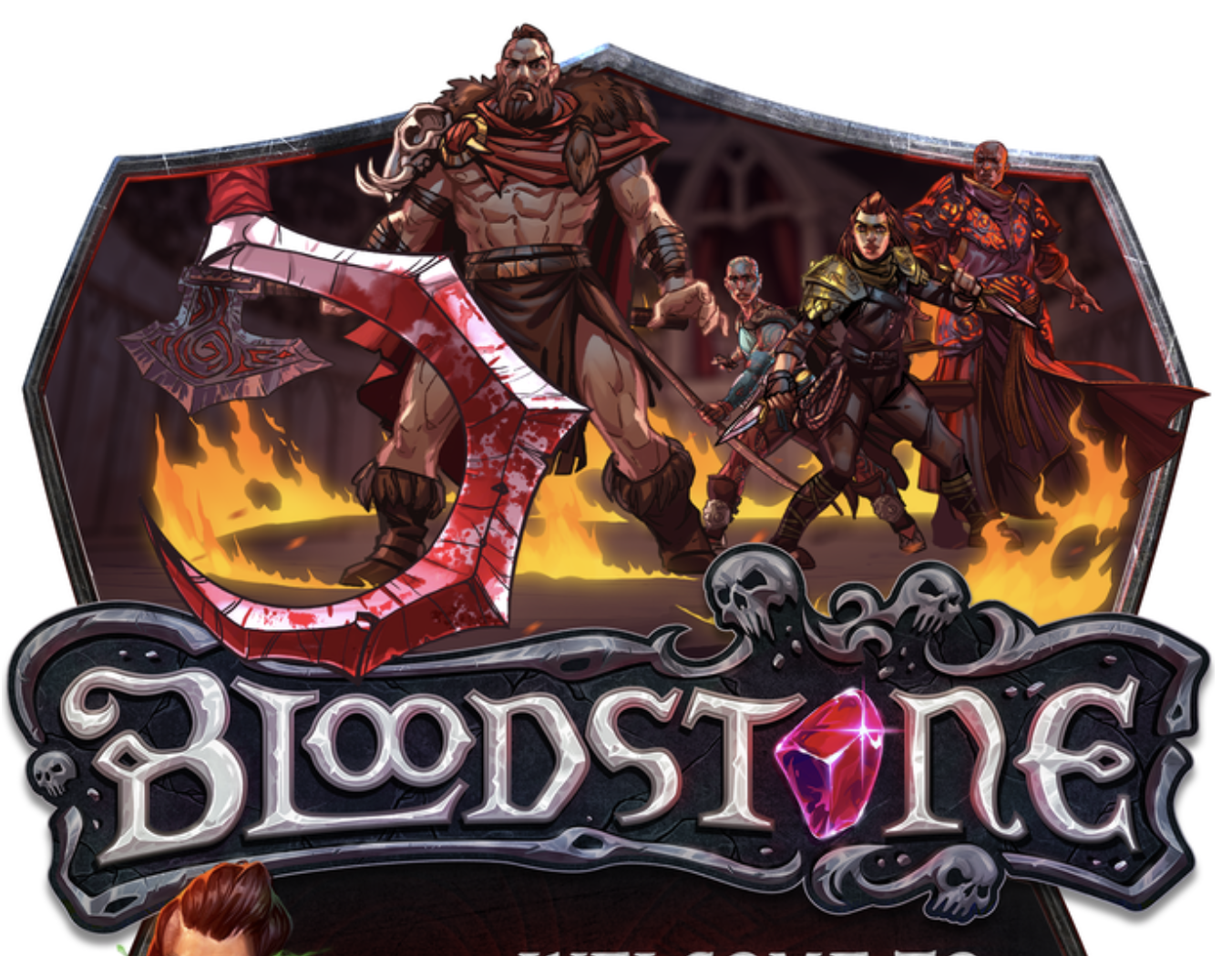 The Bloodstone logo and some fantasy warrior characters.