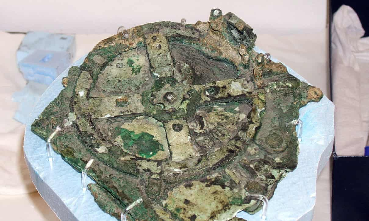 A photo of the Antikythera device.