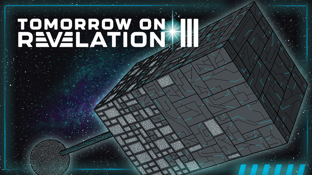 Tomorrow on Revelation III, showing a block-like space station.