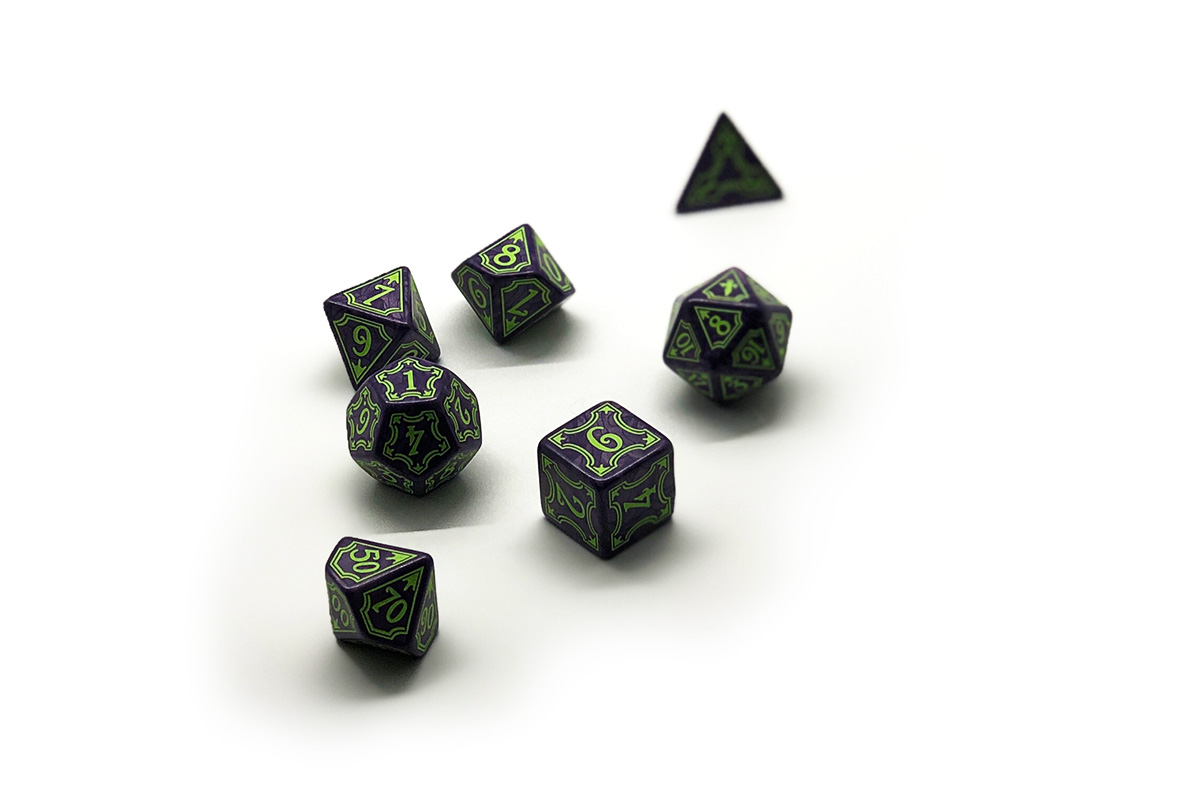 Full polyhedral set of Ptolus dice.