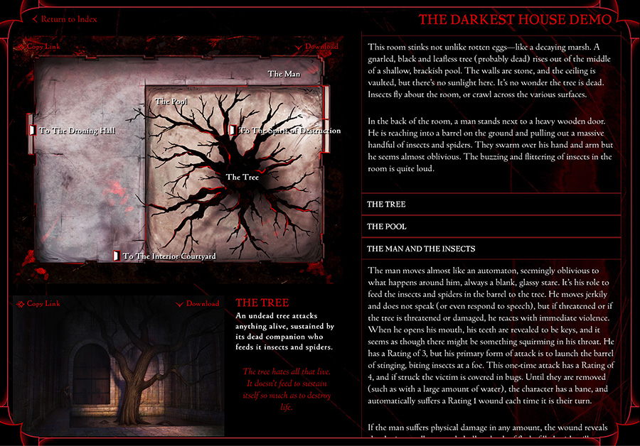 A screen shot from The Darkest House, showing maps, images, and information for the GM.