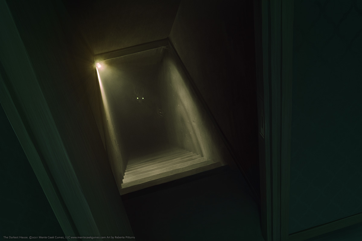 Looking through a doorway, down a dimly lit flight of stairs, a lone light bulb shows a shadowy figure lurking in the darkness, watching—their glowing eyes staring up.