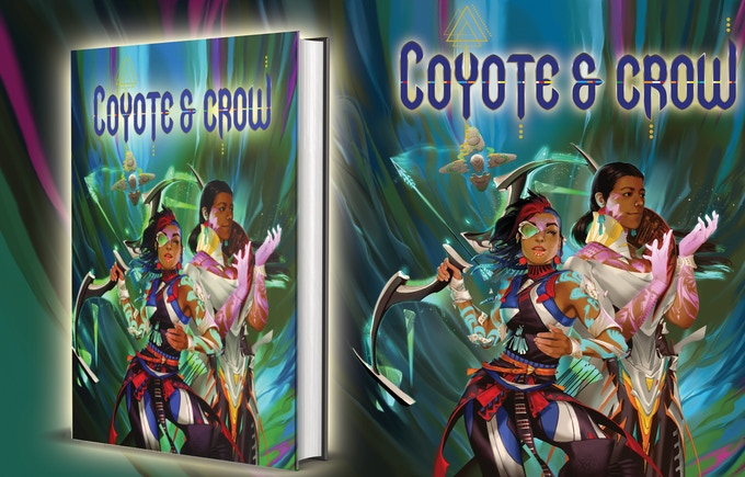 Image shows an illustration from the Coyote and Crow Kickstarter.