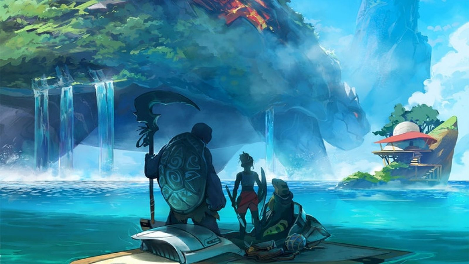 An image from Tidal Blades, showing three figures on a boat in a fantasy archipelago setting.