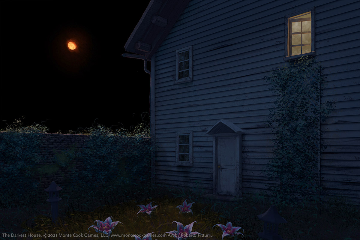 Illustration for The Darkest House by Roberto Pitturru. The image shows the rear of an older house with a walled garden at night under a waning, sickly-orange, gibbous moon. A trellis with a vine leads up to a second story window that is open with light coming from inside. The scene is mostly dark, but shapes and flowers can be made out in the garden.
