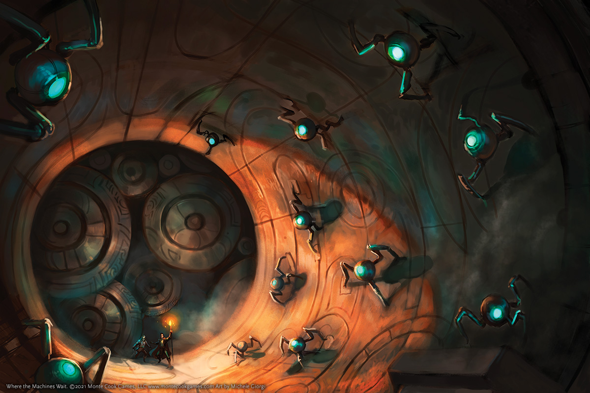 Strange creatures, perhaps mechanical, crawl along the inside of a huge mysterious cylinder.