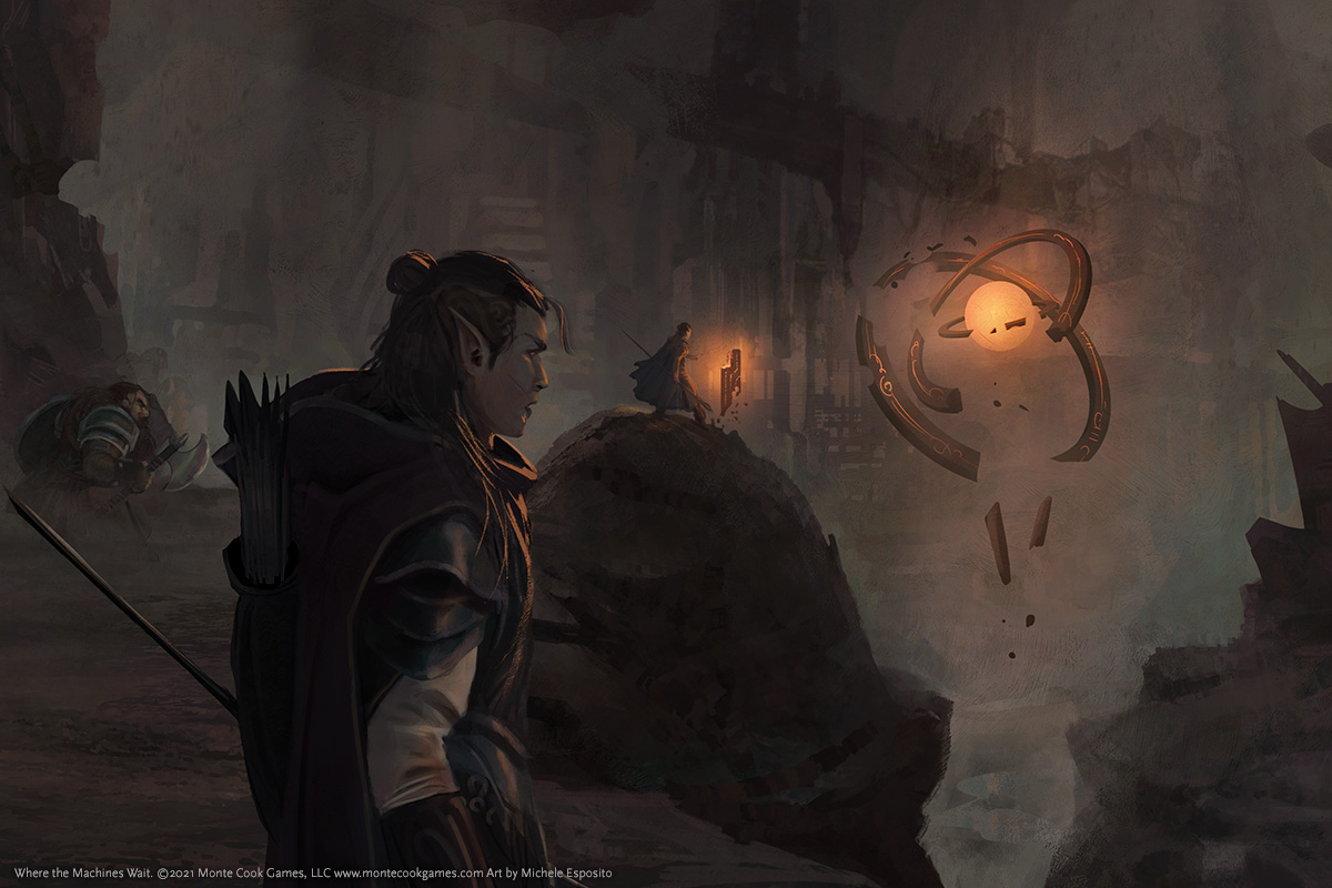A rogueish adventurer looks into a giant cave, in which a spinning device glows.