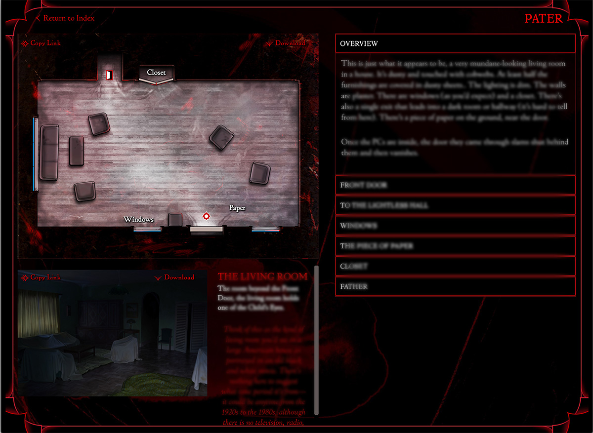 A screenshot showing a room from The Darkest House. A map and room image are visible, as is some text that has been blurred out to obscure the content.
