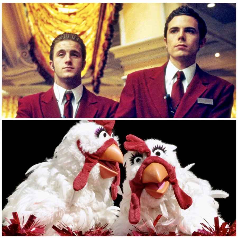 Top Image: Two of the crew from Ocean's Eleven. Lower Image: Two Muppet chickens.