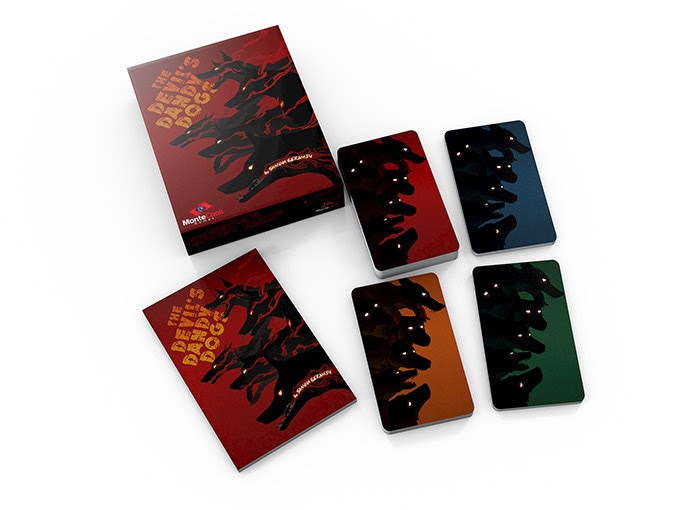 Devil's Dandy Dogs by Shanna Germain; boxed set showing box, rulebook, and tarot cards; not final product.