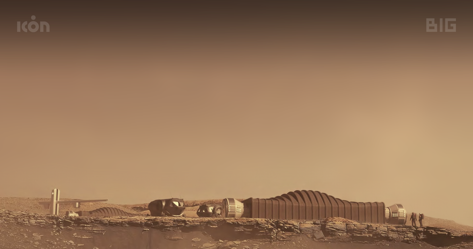 Artistic conception of the Mars Dune Alpha habitat on Mars